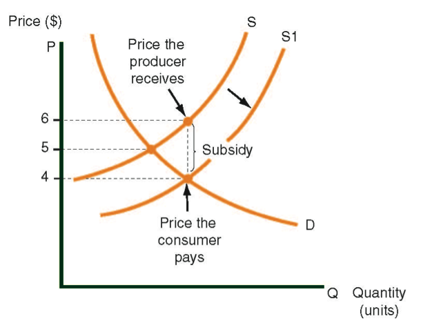 Supply curve before and after a subsidy is granted